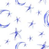 Teste padrão sem emenda da aquarela com lua e estrela Foto de Stock Royalty Free