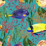 Teste padrão sem emenda da aquarela com o recife de corais no fundo azul ilustração royalty free