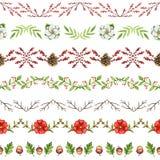 Teste padrão sem emenda da aquarela com ornamento do Natal ilustração stock