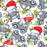 Teste padrão sem emenda da aquarela com os carros, as árvores e os presentes dos feriados dos desenhos animados Ano novo Ilustraç ilustração royalty free