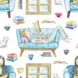 Teste padrão sem emenda da aquarela com os livros de leitura dos povos dos desenhos animados ilustração stock