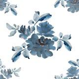 Teste padrão sem emenda da aquarela com os ramalhetes de rosas cinzentas no fundo branco Fotos de Stock Royalty Free