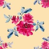 Teste padrão sem emenda da aquarela com os ramalhetes de rosas cor-de-rosa no fundo amarelo Fotos de Stock