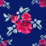 Teste padrão sem emenda da aquarela com os ramalhetes de rosas cor-de-rosa no fundo azul Fotos de Stock