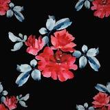 Teste padrão sem emenda da aquarela com os ramalhetes de rosas vermelhas no fundo preto Fotografia de Stock Royalty Free