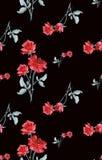 Teste padrão sem emenda da aquarela com os ramalhetes de rosas vermelhas no fundo preto Imagens de Stock Royalty Free