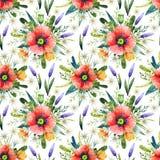 Teste padrão sem emenda da aquarela com papoilas Fundo floral Flores tiradas mão do verão fotografia de stock royalty free