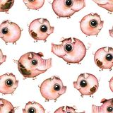 Teste padrão sem emenda da aquarela com porcos dos desenhos animados Ilustração do Vetor