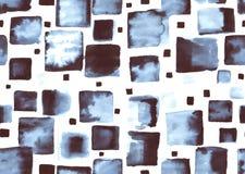 Teste padrão sem emenda da aquarela com quadrados azuis Imagem de Stock Royalty Free