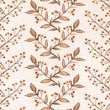 Teste padrão sem emenda da aquarela com ramos monofônicos, bagas Ilustração Royalty Free
