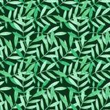 Teste padrão sem emenda da aquarela com ramos verdes ilustração stock