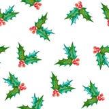 Teste padrão sem emenda da aquarela com símbolo do Natal Pintado à mão Imagens de Stock Royalty Free