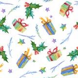 Teste padrão sem emenda da aquarela com símbolos do Natal Pintado à mão Foto de Stock Royalty Free