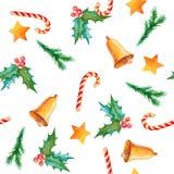 Teste padrão sem emenda da aquarela com símbolos do Natal Pintado à mão Imagem de Stock
