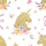 Teste padrão sem emenda da aquarela com unicórnio dourado romântico dos desenhos animados bonitos, flores, diamante, chifre ilustração do vetor