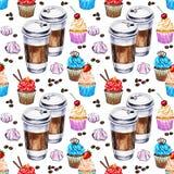 Teste padrão sem emenda da aquarela com xícaras de café dos materiais descartáveis Fotografia de Stock Royalty Free