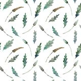 Teste padrão sem emenda da aquarela das folhas no branco ilustração royalty free