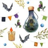 Teste padrão sem emenda da aquarela de Dia das Bruxas Foto de Stock Royalty Free