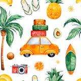 Teste padrão sem emenda da aquarela do curso com palmeira, carro amarelo, mala de viagem, abacaxi ilustração do vetor