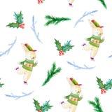 Teste padrão sem emenda da aquarela do Natal Ilustração pintado à mão Imagem de Stock