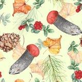 Teste padrão sem emenda 1 da aquarela do outono Desenho da mão ilustração royalty free
