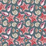 Teste padrão sem emenda da aquarela do shell, da estrela do mar e do seixo tópicos Fotos de Stock Royalty Free