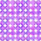 Teste padrão sem emenda da aquarela do sumário com sobreposição de círculos roxos cor-de-rosa no fundo branco fotografia de stock royalty free