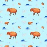 Teste padrão sem emenda da aquarela dos carneiros com olhos fechados, nuvens e camomilas Ilustração isolada no fundo azul ilustração stock