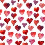 Teste padrão sem emenda da aquarela dos corações Foto de Stock Royalty Free