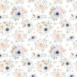 Teste padrão sem emenda da aquarela elegante com flores Fotos de Stock