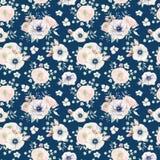 Teste padrão sem emenda da aquarela elegante com flores Imagens de Stock Royalty Free