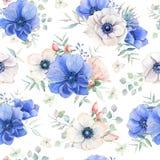 Teste padrão sem emenda da aquarela elegante com flores ilustração stock