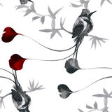Teste padrão sem emenda da aquarela floral tropical com colibris e flores Pintura da aguarela Fotos de Stock
