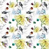 Teste padrão sem emenda da aquarela floral tropical com colibris e flores Pintura da aguarela Imagem de Stock Royalty Free