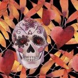 Teste padrão sem emenda da aquarela Halloween Crânio assustador com olhos e as folhas de outono leves ilustração stock