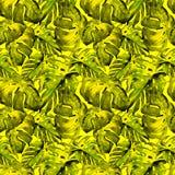Teste padrão sem emenda da aquarela Ilustração pintado à mão das folhas e de flores tropicais Motivo tropico do verão com Liana P foto de stock