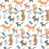 Teste padrão sem emenda da aquarela Natureza dos desenhos animados ilustração stock