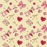 Teste padrão sem emenda da aquarela para o dia de Valentim com coração, chave, fechamento, curva, envelope, amor, doces Apropriad ilustração do vetor