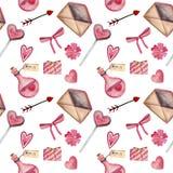 Teste padrão sem emenda da aquarela para o dia de Valentim com coração, chave, fechamento, curva, envelope, amor, doces, seta, fl ilustração do vetor