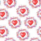 Teste padrão sem emenda da aquarela para Valentine& x27; dia de s Fotografia de Stock
