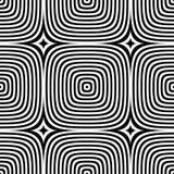 Teste padrão sem emenda da arte op do vetor abstrato Ornamento gráfico monocromático Imagens de Stock Royalty Free