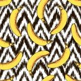 Teste padrão sem emenda da banana e de ziguezague do vetor Fotos de Stock Royalty Free