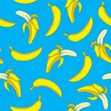 Teste padrão sem emenda da banana Pop art brilhante Desenho da mão Foto de Stock Royalty Free