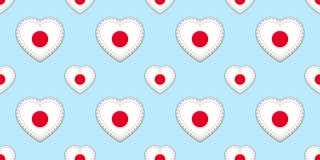 Teste padrão sem emenda da bandeira de Japão O japonês do vetor embandeira stikers Símbolos dos corações do amor Textura para cur ilustração royalty free