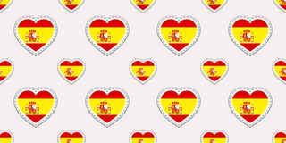 Teste padrão sem emenda da bandeira da Espanha O espanhol do vetor embandeira stikers Símbolos dos corações do amor Fundo para cu ilustração royalty free