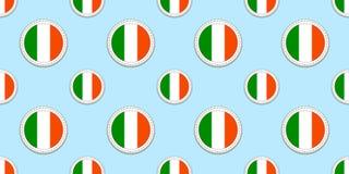 Teste padrão sem emenda da bandeira redonda da Irlanda Fundo irlandês Ícones do círculo do vetor Símbolos geométricos Texture par ilustração do vetor