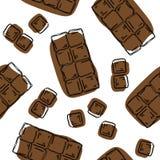 Teste padrão sem emenda da barra de chocolate Fundo para o empacotamento do chocolate e do cacau - etiquetas e fundo no estilo li ilustração stock