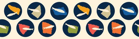 Teste padrão sem emenda da beira do vetor do círculo da sardinha de peixes grelhados ilustração royalty free