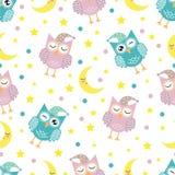 Teste padrão sem emenda da boa noite com as corujas bonitos, a lua, as estrelas e as nuvens do sono Fundo dos sonhos doces Ilustr ilustração royalty free