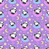 Teste padrão sem emenda da boa noite com o urso de panda bonito, a lua, os corações, as estrelas e as nuvens Fundo dos sonhos doc ilustração stock